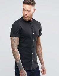 Черная джинсовая рубашка суперзауженного кроя с короткими рукавами и в Asos