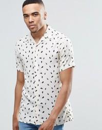 Рубашка с короткими рукавами и принтом перьев Jack & Jones Premium