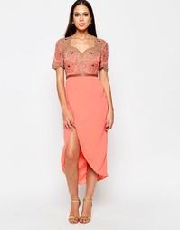 Платье с декорированным топом Virgos Lounge Amanda - Peach