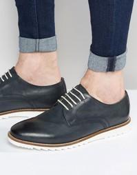 Темно-синие кожаные туфли дерби на белой подошве ASOS - Темно-синий