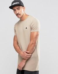Бежевая удлиненная футболка с вышивкой ASOS - Серебристо-бежевый