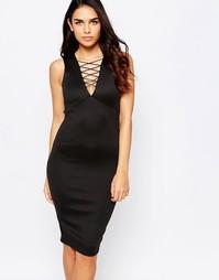 Платье миди с отделкой шнуровкой спереди AX Paris - Черный
