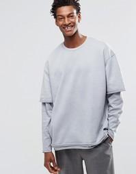 ASOS Oversized Sweatshirt With Double Layer Sleeves & Raw Edges