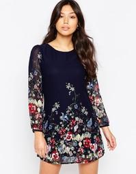 Цельнокройное платье с длинными рукавами и принтом Yumi - Темно-синий