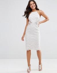 Кружевное платье-футляр миди ASOS - Серый лед