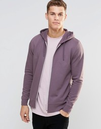 Фиолетовый худи на молнии ASOS - Пыльно-лиловый