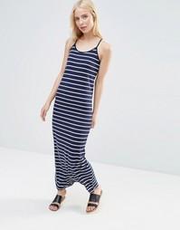 Трикотажное платье макси в полоску QED London - Темно-синий