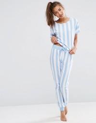 Пижамный комплект из футболки и джоггеров в крупную полоску ASOS