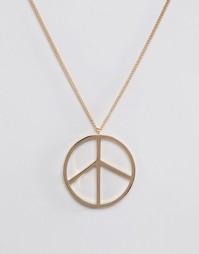 Золотистое ожерелье с подвеской-пацификом ASOS - Золотой