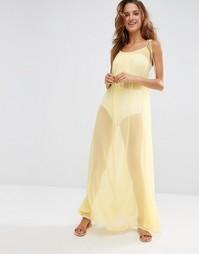 Пляжное свободное платье макси с завязками на плечах ASOS - Желтый