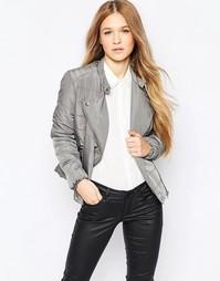 Короткая уплотненная куртка с асимметричной молнией Vero Moda - Pewter