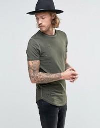 Удлиненная футболка цвета хаки с рваной отделкой и закругленным краем Asos