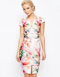 Платье-футляр с зеркальным принтом и разрезом спереди Closet - Белый