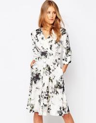 Платье с рукавами-кимоно и цветочным принтом Closet - Мульти