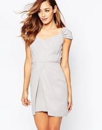Платье мини с открытыми плечами VLabel Bayliss - Серый