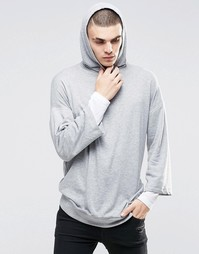 ASOS Oversized Longline Double Layer Hoodie - Серый меланж