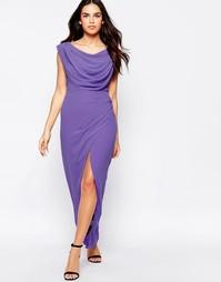 Платье макси с разрезом VLabel Priory - Сиреневый