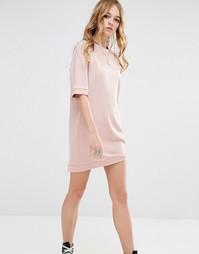 Трикотажное oversize-платье с короткими рукавами Glamorous - Розовый