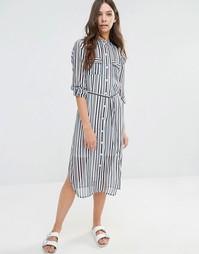 Платье-рубашка в полоску с поясом Influence
