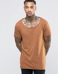 Длинная футболка из фактурного меланжа с овальным вырезом и краем ASOS