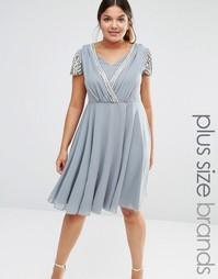 Платье миди с запахом и короткими рукавами Lovedrobe - Серый