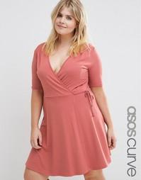 Чайное платье с запахом ASOS CURVE - Сумеречно-розовый