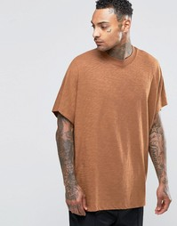Фактурная oversize‑футболка с широкой отделкой по краю горловины ASOS