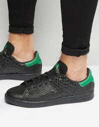 Черные кроссовки со змеиным принтом adidas Originals Stan Smith S80022