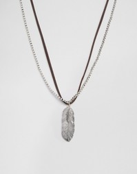 ASOS Faux Leather Necklace With Feathers - Коричневый