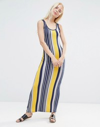 QED London Mixed Stripe Jersey Maxi Dress - Sundance yellow