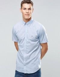 Синяя поплиновая рубашка с короткими рукавами Tommy Hilfiger