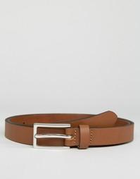 Строгий узкий светло-коричневый кожаный ремень ASOS - Рыжий