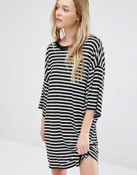 Платье-футболка Weekday Huge - Черно-белый в полоску