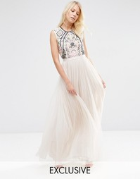 Кружевное платье макси Needle & Thread - Rose beige