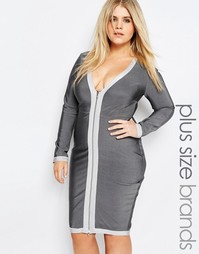 Missguided Plus Bandage Bodycon Dress - Серый