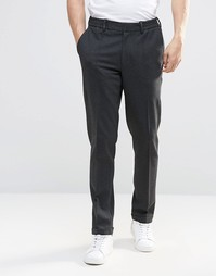 ASOS Super Skinny Trouser In Charcoal Jersey With Turn Up - Угольный