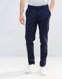 Темно-синие трикотажные штаны суперзауженного кроя с отворотами ASOS