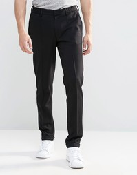 ASOS Super Skinny Trouser In Black Jersey With Turn Up - Черный
