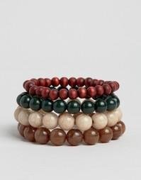 Набор браслетов из коричневых бусин ASOS - Мульти
