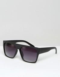 Большие черные солнцезащитные очки с плоским верхом ASOS - Черный