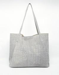 Замшевая сумка-шоппер с отделкой под кожу крокодила ASOS
