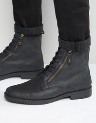 Черные кожаные ботинки на шнуровке и двойной молнии ASOS - Черный