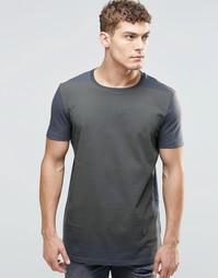 Удлиненная футболка с градуированным принтом ASOS - Выбеленный черный