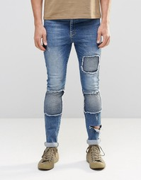 Синие супероблегающие джинсы в байкерском стиле ASOS - Светло-голубой