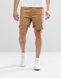Песочные джинсовые шорты зауженного кроя ASOS - Stone