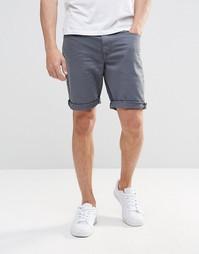 Синие суперзауженные джинсовые шорты ASOS - Brushed nickel
