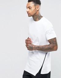 Удлиненная футболка с ассиметричной кромкой и молнией ASOS - Белый