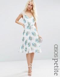 Платье миди с принтом и кружевом для миниатюрных ASOS PETITE