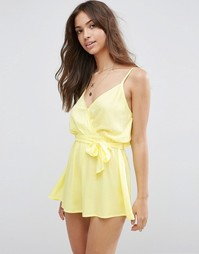 Пляжный комбинезон с запахом спереди ASOS - Лимонно-желтый