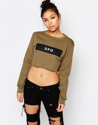 Укороченный свитшот с принтом UFO Adolescent Clothing - Хаки